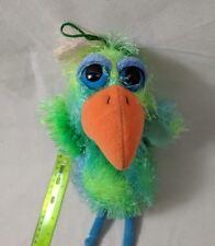 Russ Lil Peepers Blue & Green Shaggy Big-Eyed Bird Parrot Plush Stuffed Animal