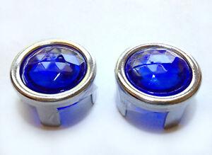 Mercury Blue Dot Tail Light Bulb Lamp Lenses Hot Rod Chrome Bezel Ring 1157 NOS