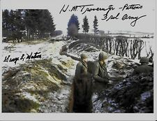 HOWARD TROWERN & GEORGE WATSON. BATTLE OF THE BULGE VETERANS RARE SIGNED PHOTO