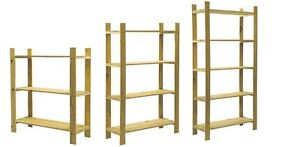 SOLID WOOD WOODEN STORAGE SHELF SHELVING UNIT BOOKCASE GARAGE 3,4,5 TIER SLATTED