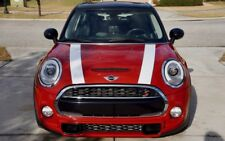 Mini Cooper 2014 to Current White with Black Hood Stripe Decals - Exact Fit
