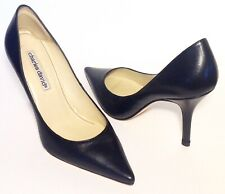 charles david Sz.5B BLK. Leather Pointed Toe Pump Heel,Fine Preowned Cond.,Spain