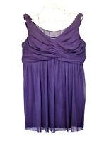 David's Bridal Purple Mini Dress Sz 20 Sleeveless  Prom Wedding Bridesmaid Women
