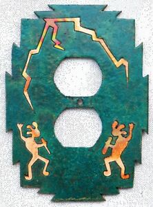 """COPPERCUTTS Kokopelli Outlet Cover 4.25"""" x 6"""" SouthWest Rustic Copper and Wood"""