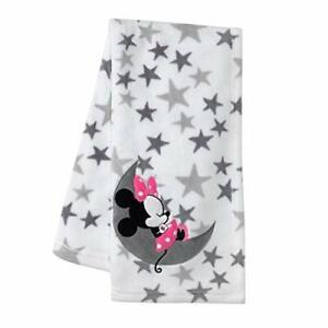 "Baby Blanket Minnie Mouse Fleece Gray White Nursery Girl Gift 30x40"" Soft New"