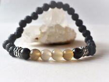 Bracelet élastique perles agate foncée et pâle / pierres de lave-pierre fine 6mm