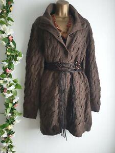 Vintage Wool Aran Cable Knit Brown Boho Long Cardigan Jumper Coatigan 12 14 16