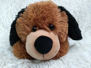 Chocolate Brown Plush Puppy Dog w/ Black Ears Tail and Nose