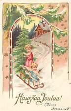 """Hauskaa Joulua! """"Merry Christmas"""" Fir tree, Sledge, Children Cherubs angel stars"""