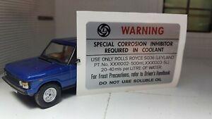 Leyland Range Rover Rolls Royce 3.5 V8 SD1 Radiator Coolant SQ36 Decal Sticker
