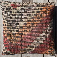 (45*45CM, 18 INCH) Boho handwoven kilim cushion cover rustic orange red white #1