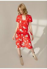 Anthropologie Lily & Lionel Red Lea Love Heart Silk Dress Size M ( UK 10 -12 )