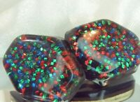 Gorgeous Sparkling Red Green Confetti Lucite Vintage 60's Clip On Earrings 795D9