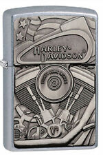 Zippo 29266, Harley Davidson-Motor & Flag, Emblem, Street Chrome Lighter