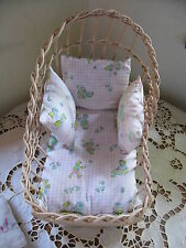 """Vintage Wicker and Wood Pale Pink Doll Rocker Cradle for 8-9"""" Doll with Pads"""