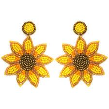 Sunflower Bling Embellished Seed Bead Sequin Earrings glass bead art Fancy