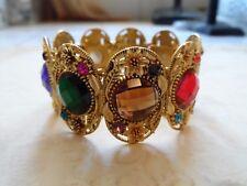 Breathtaking Gold Multi Color Rhinestone Flower Wide Cuff Bracelet 33.8 Grams