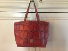 DOONEY & BOURKE Red Croc Leather Tote Bag Purse Used Authentic