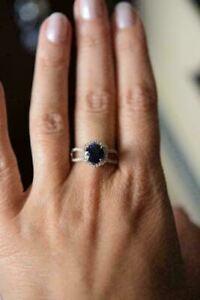 14K Rose Gold Finish 2.3Ct Round Cut Sapphire Hexagonal Shape Halo Wedding Ring