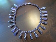 VTG 925 Sterling Signed AMETHYST DROPS BEADS CHUNKY NECKLACE CHOKER=18IN=118gr