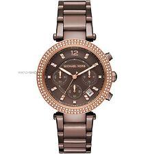 ** Nuevo * Damas KORS Marrón Cristal Parker Rose MICHAEL reloj de oro MK6378-PVP £ 259