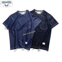 Knitted Denim T-shirt Vintage Flexible Crew Neck Men's Summer Short Sleeve Tee