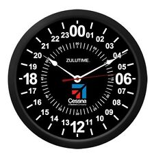 "NEW ZT24 TRINTEC CESSNA 24 Hour Clock 10"" BLACK Military ZULU Time Ham Radio"