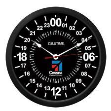 "NEW ZT24 TRINTEC CESSNA 24 Hour Clock 10"" BLACK Military ZULU Time Ham Radio"