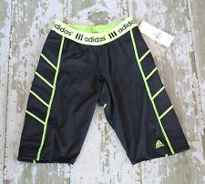 NWT ADIDAS Girls Black Yellow FAstptich Softball Slider Shorts Slide XL  14 16