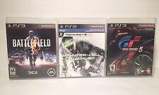 Lot PS3 Video Games - Battlefield 3 / Splinter Cell Blacklist / Gran Truismo 5