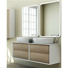 Mobile arredo bagno moderno Bellagio doppio lavabo d'appoggio 140x46 sospeso|15