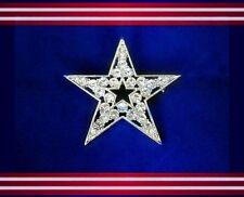 JULY 4TH PATRIOTIC AMERICAN FLAG USA CLEAR RHINESTONE STAR SILVER PIN BROOCH