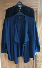 EVANS Brand New Navy Blue Black Woven Waterfall Cardigan Top Size 14 - 32