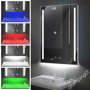 LED Bathroom Mirror with Shaver Socket Demister Sensor Lights Vertically RGB QW
