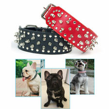 Puppy Pet Dog Collar Spiked Studded Rivet PU Leather Bull Punk Neck Collars XS-L