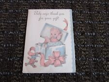 Vintage Greeting Card Thank you for Baby Gift Small R in Circle Unused