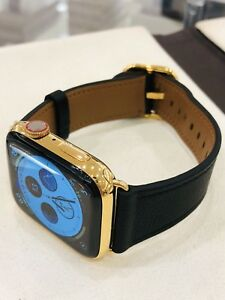 24K Gold Plated 45MM Apple Watch  SERIES 7 Stainless Steel Black Leather GPS LTE