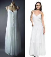 White Peasant Victorian Boho Bohemian Cotton Chemise Slip Long Maxi 227 mv Dress