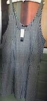 NWT ZANZEA Black Striped Lightweight Linen Jumper Sundress Tunic - Size XXL