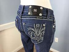 MISS ME Bermuda cropped jeans dark wash stretch distressed embellished pocket 27