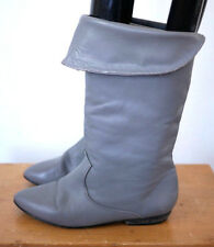 Vintage 80s Nicole Soft Grey Leather Pirate Slouch Cuff Calf Boots 6.5 37
