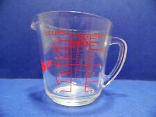 Vintage Fire-King Measuring Cup 498 2 Cup 16 Oz D-Handle Red Lettering CRO-81