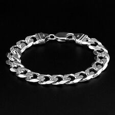 ATTRACTIVE 925 ITALY STERLING SILVER FIGARO MENS BRACELET 8in