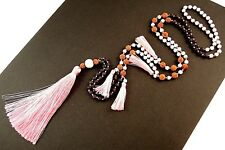 1 Gemstone Beads & Natural Lava Beaded Dangle Necklace with Pink Tassels # 775