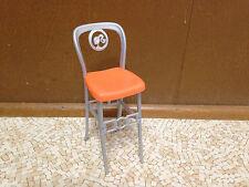 2010 Barbie Doll Glam House Modern Orange Chair High Bar Stool Kitchen Furniture