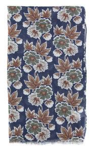 "New $400 Luigi Borrelli Navy Blue Floral Long Scarf - 26"" x 76"" - (FI120276)"