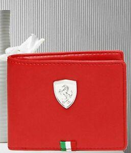 BRAND NEW AUTHENTIC PUMA FERRARI RED BI-FOLD LEATHER MEN'S WALLET