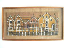 Vintage 1960's Mid Century Handpainted 'Harbour Houses' Wall Art Hessian Board