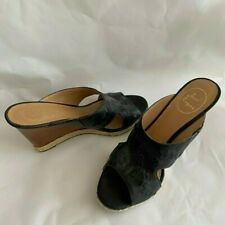 Jack Rogers WOMEN's Sophia Wedge Sandal, size 8, BLACK, pre-owned