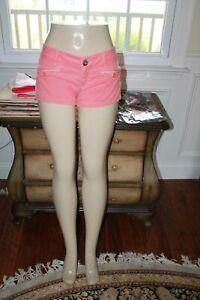 UNIONBAY JEANS 5 STRETCH COTTON blend women's juniors peach pink mini shorts